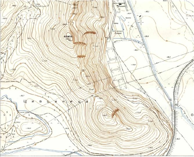 "Topographic map of site with immediate surroundings (scale: 1:5000). The site occupies the southernmost ridge (224 masl) of ""Kozhuh"", with the flooded terrace of Strymon river to the east."